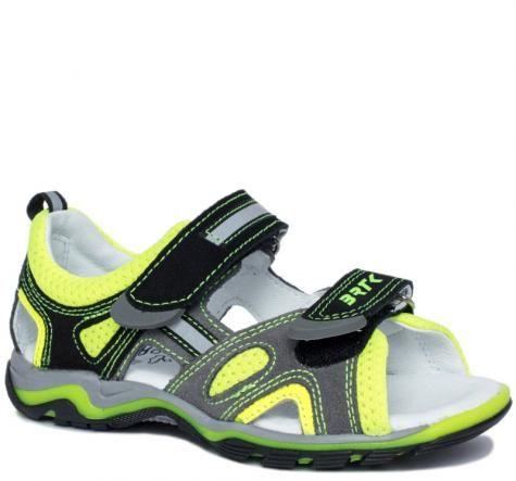 Bartek 16176 / 19176 - 005 sandały sandałki profilaktyczne - dziecięce - szary żółty neon