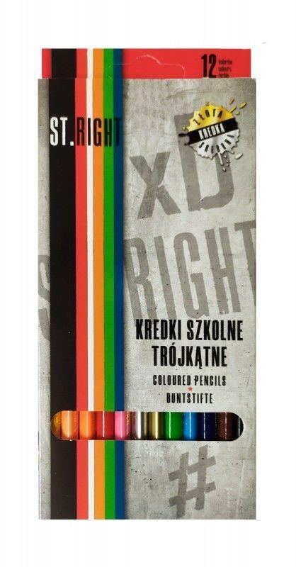 Kredki ołówkowe szkolne trójkątne 12 kolorów ST.RIGHT 5633317