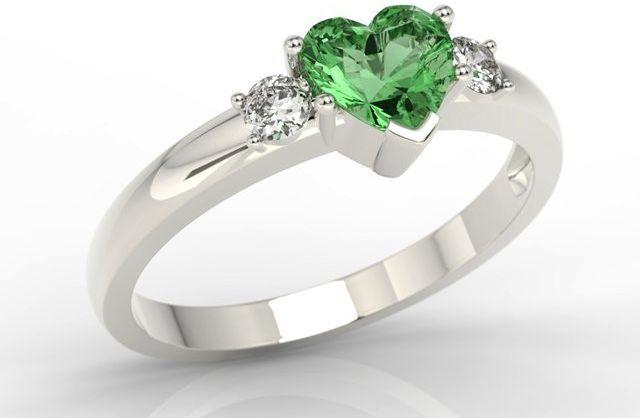 Pierścionek z białego złota z zielonym topazem w kształcie serca i cyrkoniami jp-90b-c