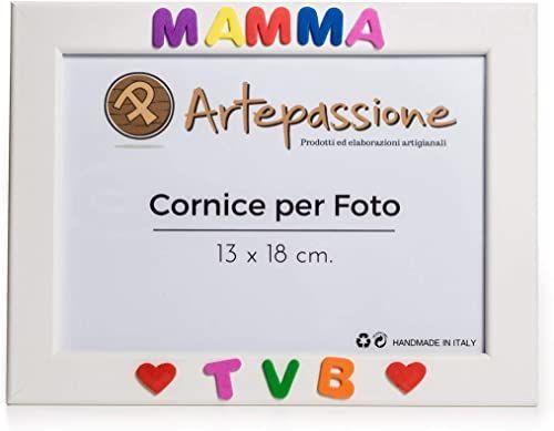 """Drewniana ramka na zdjęcia z napisem""""Mama Tvb"""" i ozdobiona sercami, biała, 13 x 18 cm"""