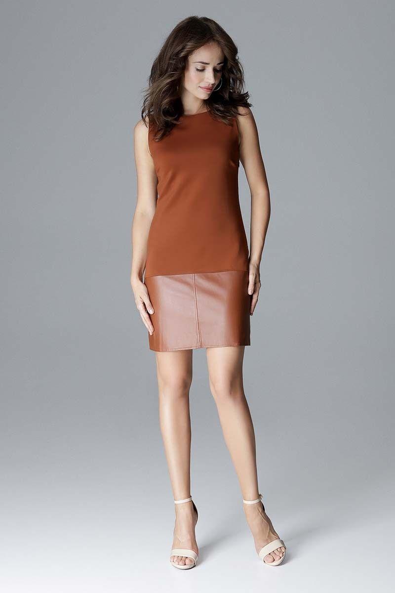 Brązowa prosta sukienka z dodatkiem eko-skóry