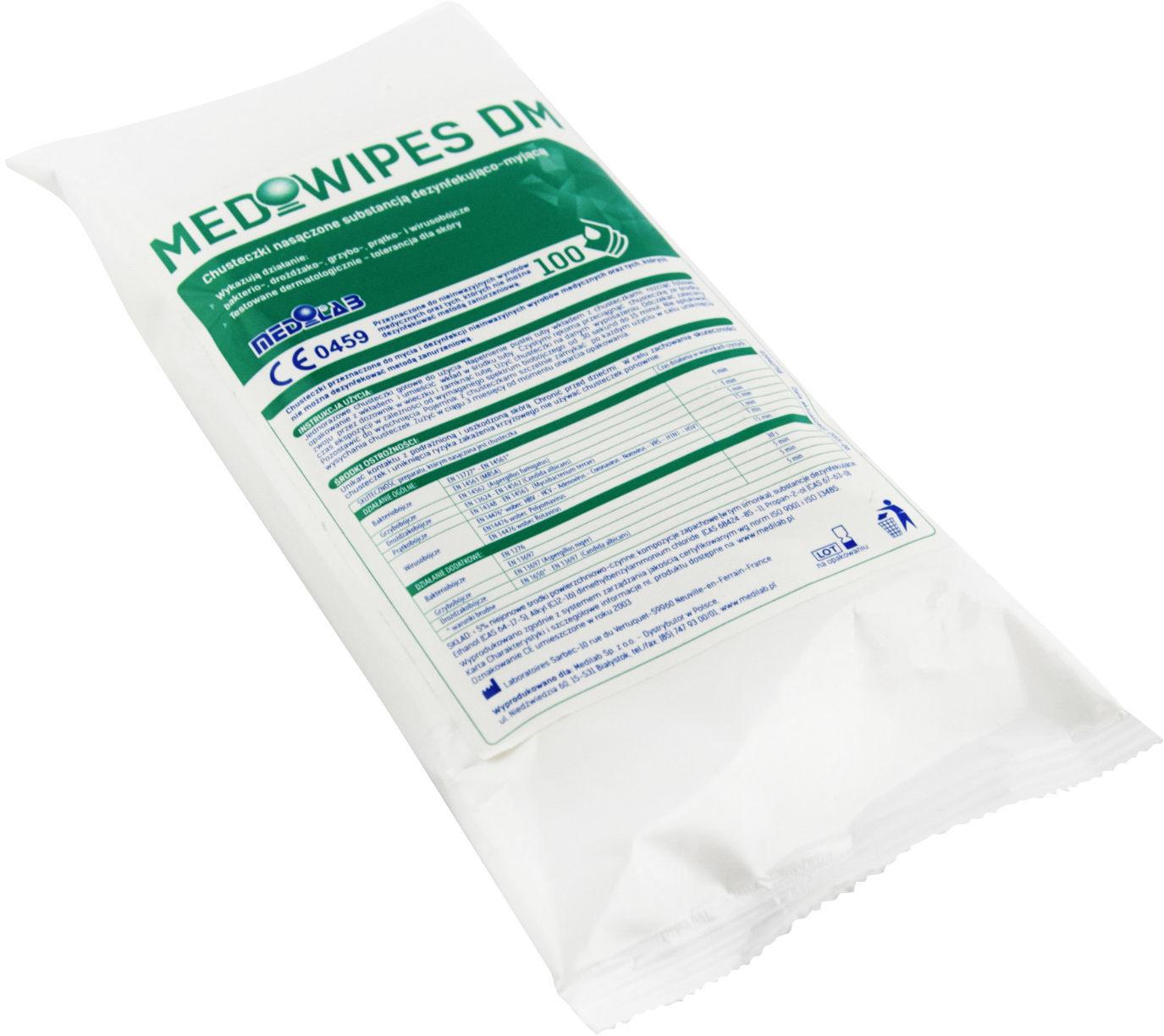 Medilab MEDIWIPES DM-100szt. wkład Chusteczki do dezynfekcji oraz mycia delikatnych małych powierzchni