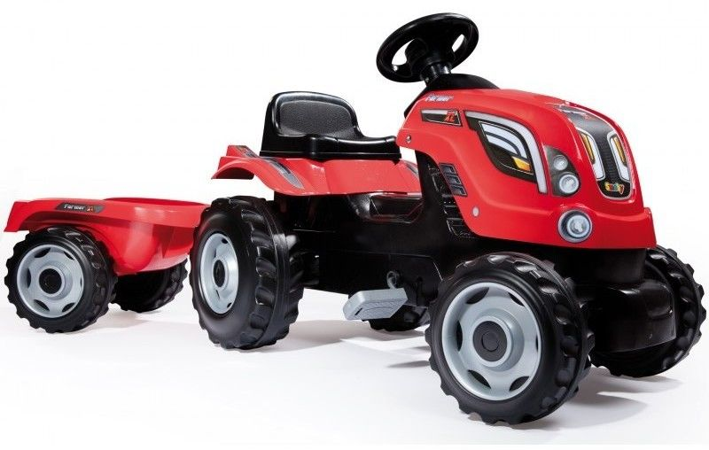 Traktor na pedały dla dziecka Smoby XL z przyczepą - Czerwony