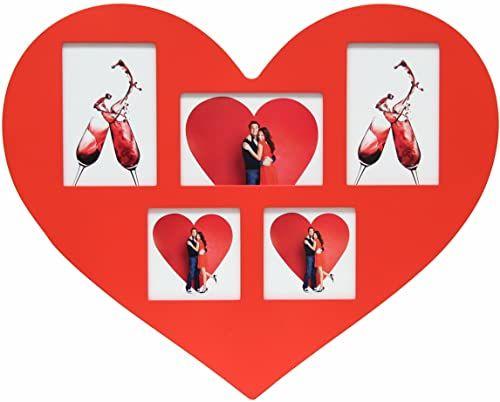 Deknudt ramka S66RE4-G5-40.0X50.0 ramka do galerii czerwona w kształcie serca, 2x(10x10)+3x(10x15)-40