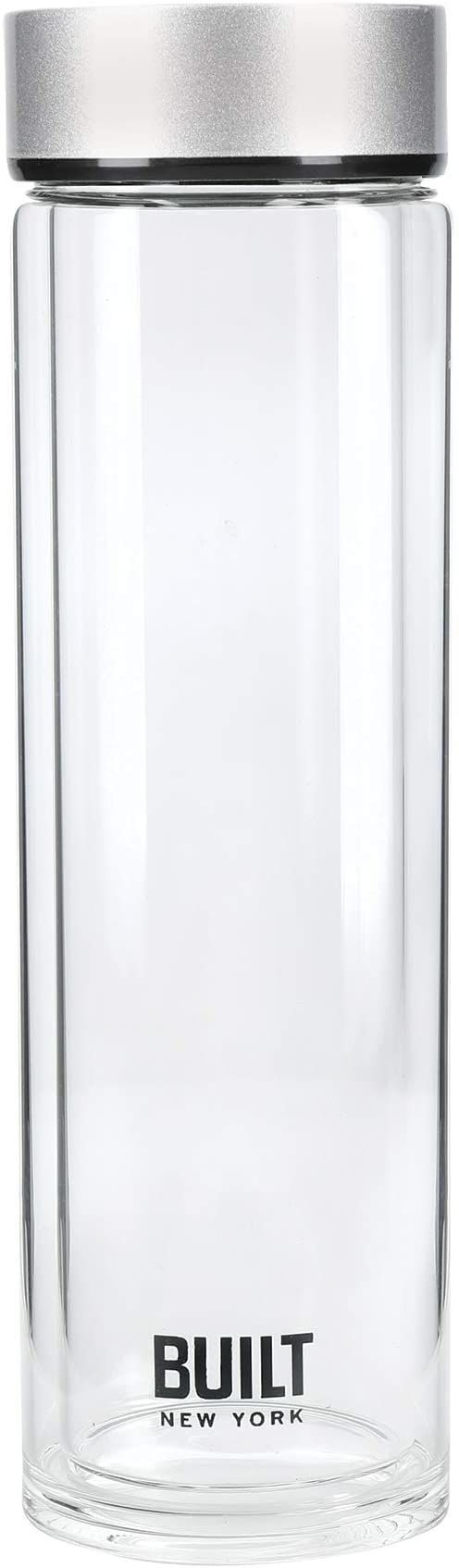 BUILT Tiempo butelka na wodę ze szkła z izolacją, nie zawiera BPA szkło borokrzemowe/piersiówka ze stali nierdzewnej, srebrna, 450 ml