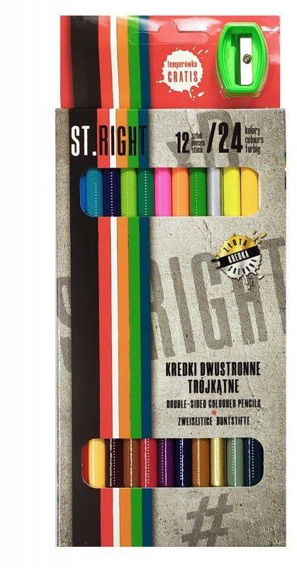 Kredki ołówkowe dwustronne trójkątne 12/24 kolorów plus temperówka ST.RIGHT 5633348