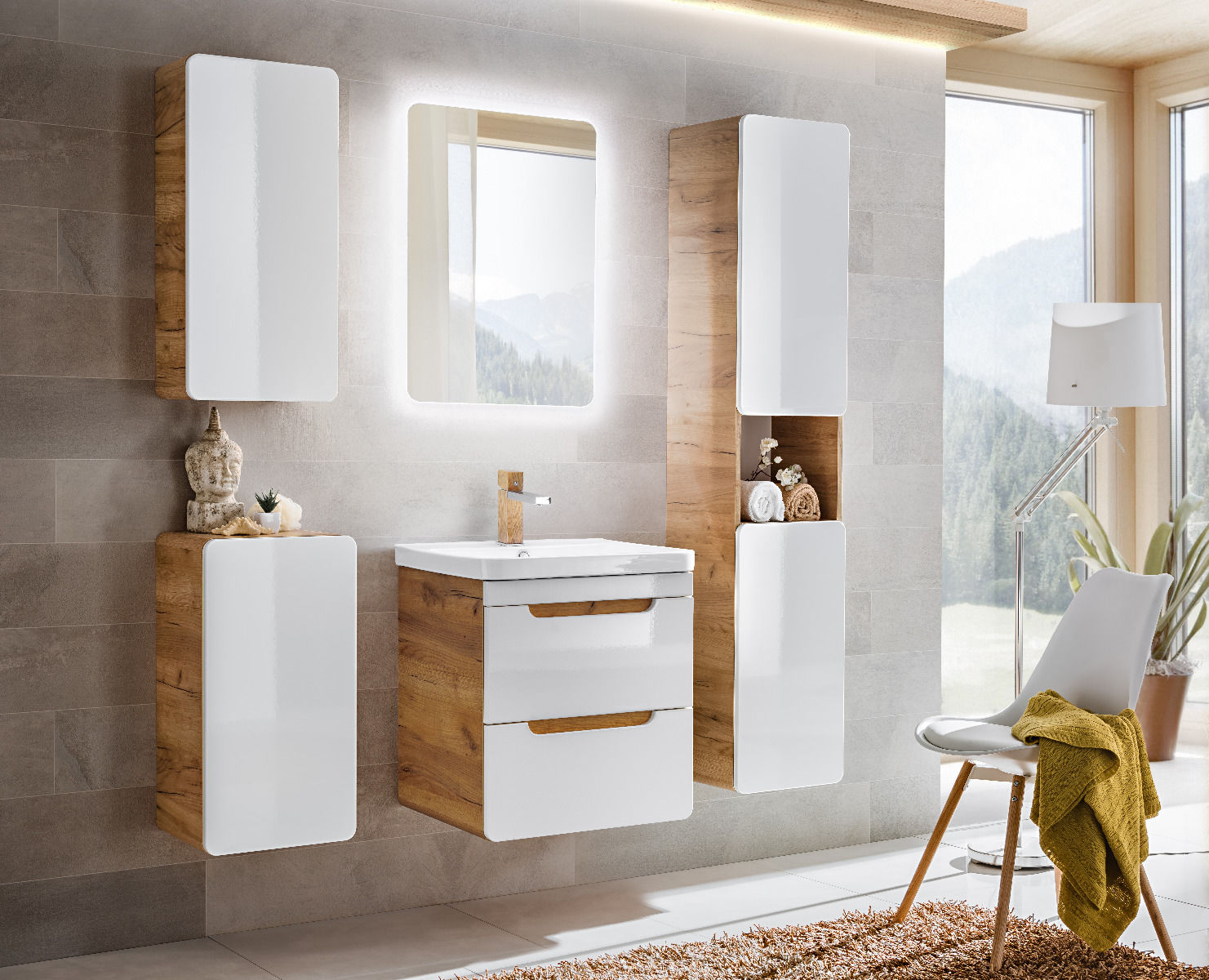 Szafka pod umywalkę ARUBA 824 biała/dąb  Kupuj w Sprawdzonych sklepach