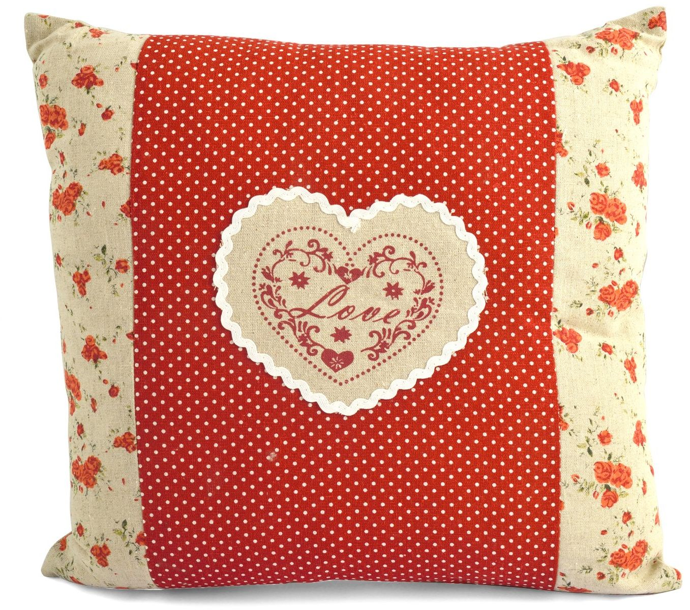 H & H serce czerwona poduszka z tkaniny, czerwona, 35 x 11 x 35 cm