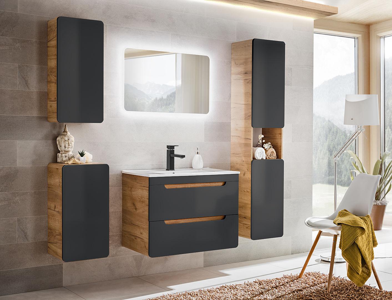 Szafka łazienkowa ARUBA COSMOS 800 grafit/dąb  Kupuj w Sprawdzonych sklepach
