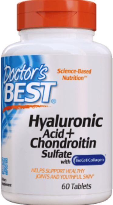 Doctor''s Best Hyaluronic Acid + Chondroitin Sulfate with BioCell Collagen (Kwas Hialuronowy + Siarczan Chondroityny z Kolagenem) 60 tabletek