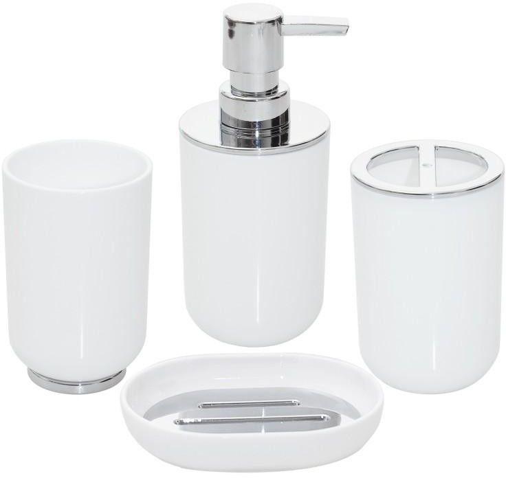 Komplet łazienkowy 4 elementy biały chrom - Yoka