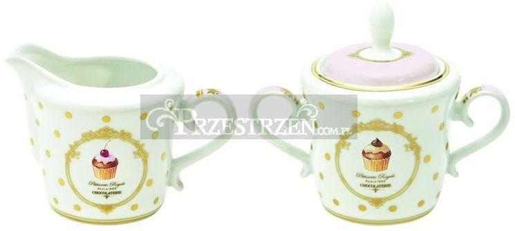 KOMPLET - PORCELANOWA CUKIERNICA I MLECZNIK - ELEGANCE Cupcakes (1104 DOC)