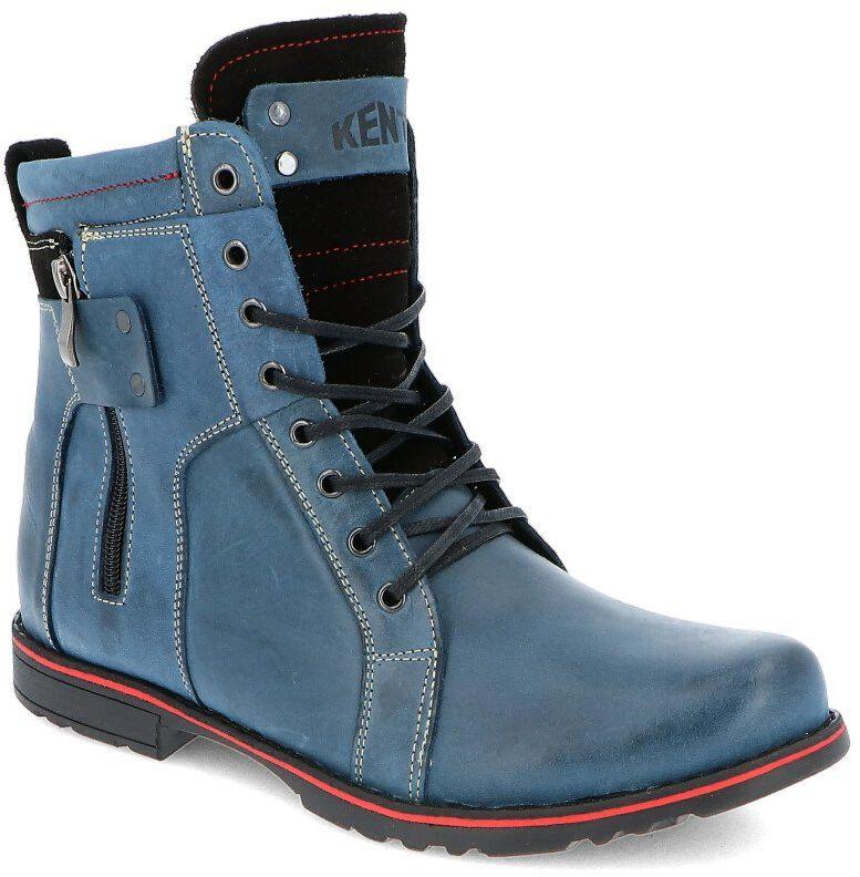 KENT 237 GRANATOWE - Męskie buty zimowe skóra - Granatowy
