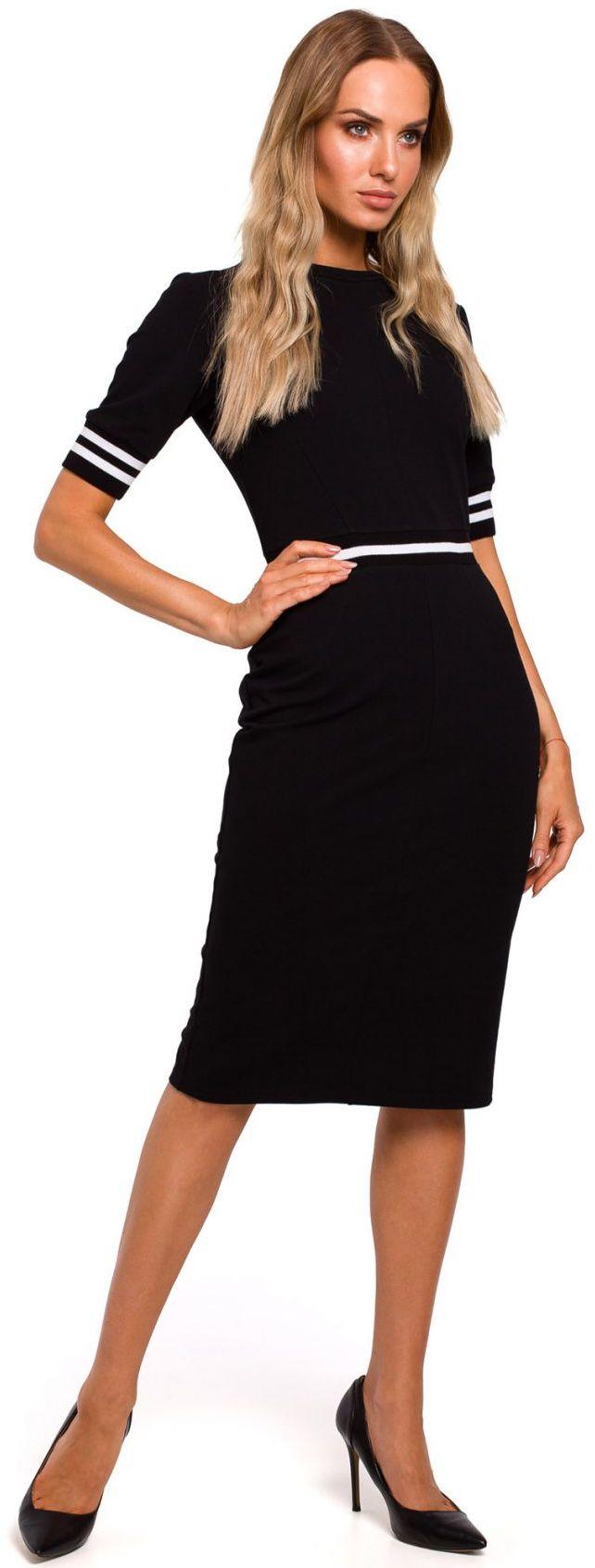 M461 Sukienka ze wstawkami ze ściągacza - czarna