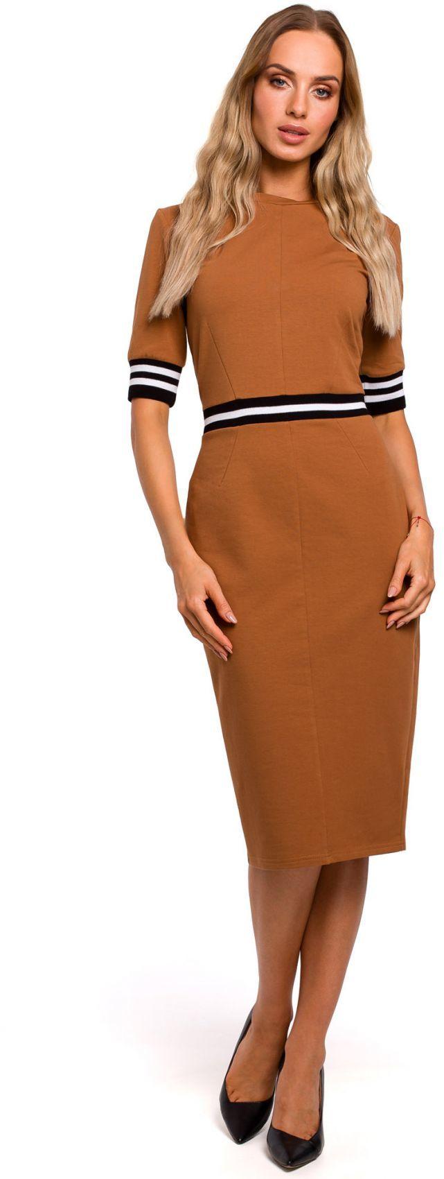 M461 Sukienka ze wstawkami ze ściągacza - karmelowa