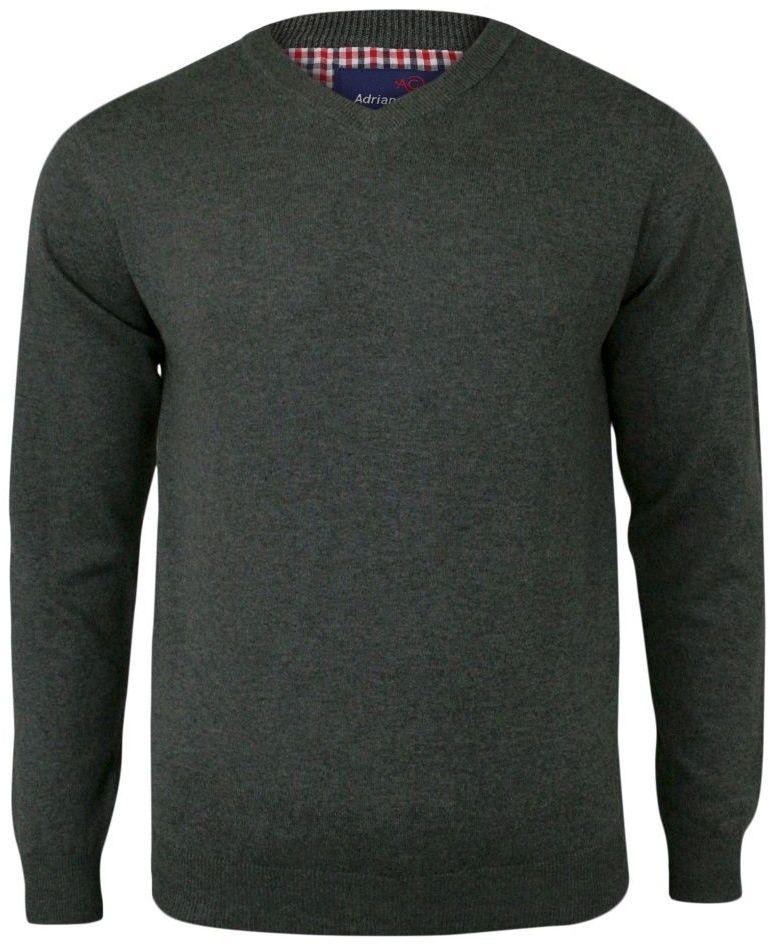 Sweter Szary, Elegancki Męski Bawełniany (V-neck) - Dekolt w Serek SWADGAW18greyb65V