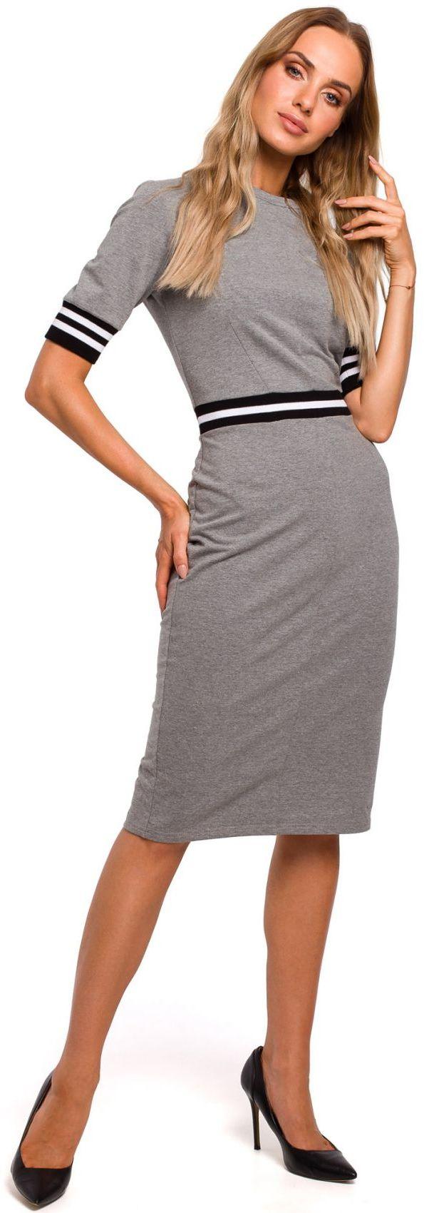 M461 Sukienka ze wstawkami ze ściągacza - szara