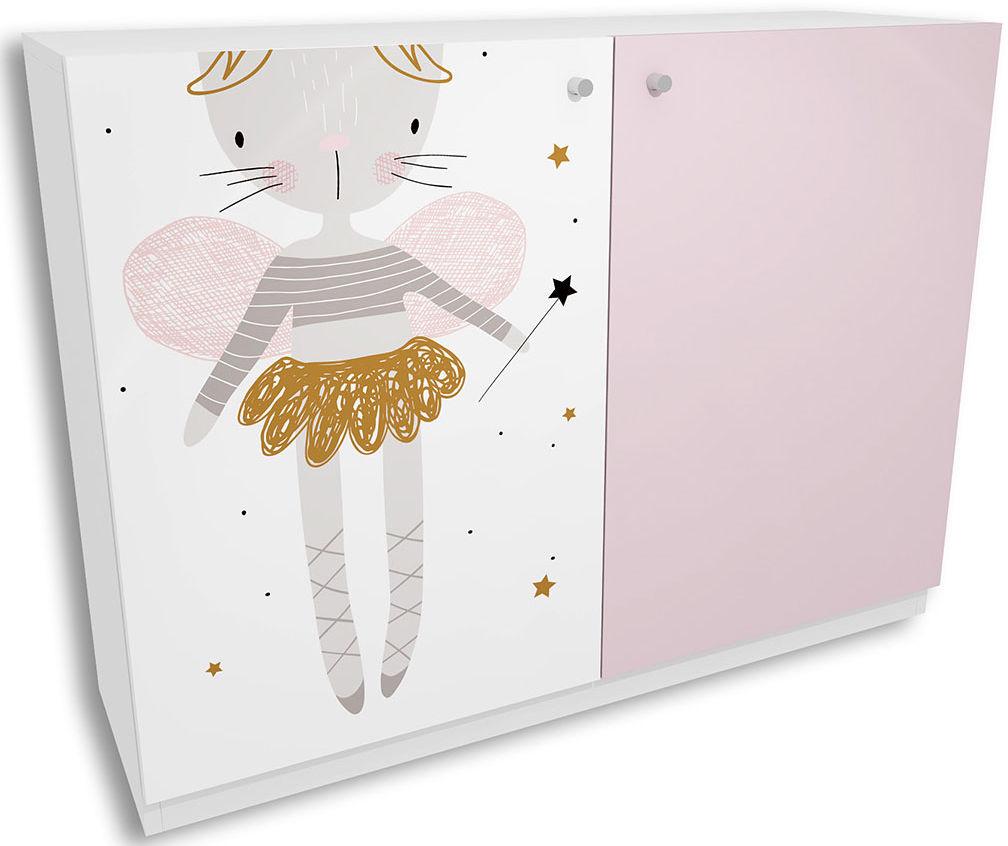 Biało-lawendowa komoda dla dziewczynki Peny 4X - 4 kolory