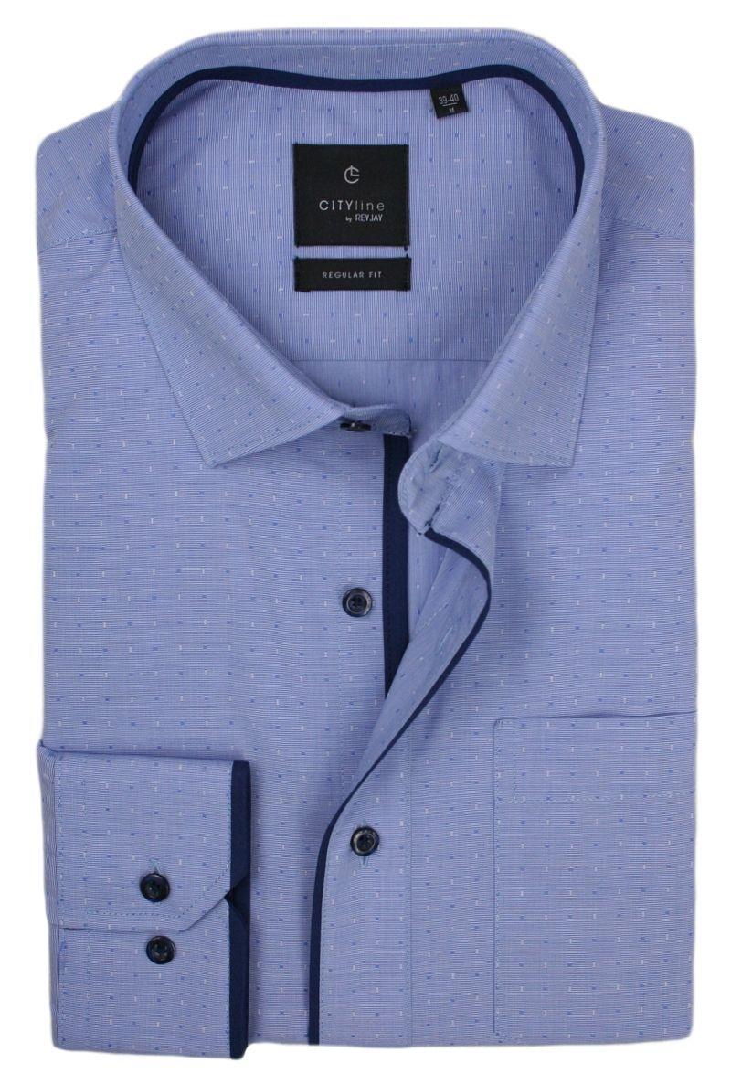 Koszula Męska Rey Jay, Długi Rękaw, Prosty Krój, Drobny Wzór, Jasny Niebieski KSDWRJ317101RG