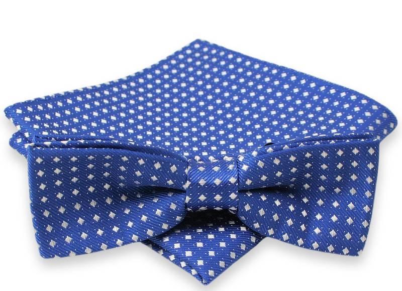 Niebieska Mucha w Białe Kwadraciki + Poszetka, Męska MUALTS0085