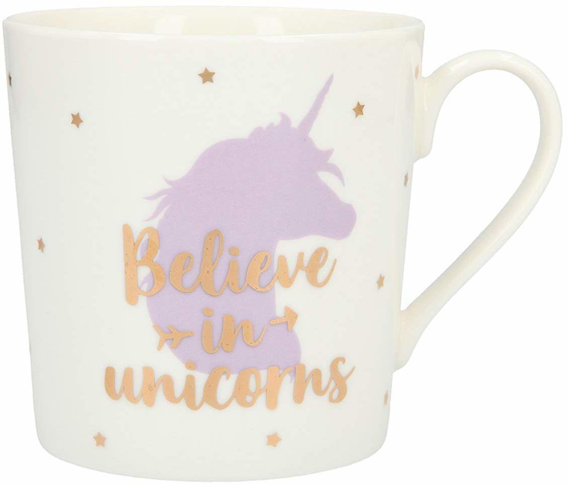 Depesche 5909.004 kubek z uchwytem, z porcelany, 300 ml, z napisem, Believe in Unicorn, wielokolorowy