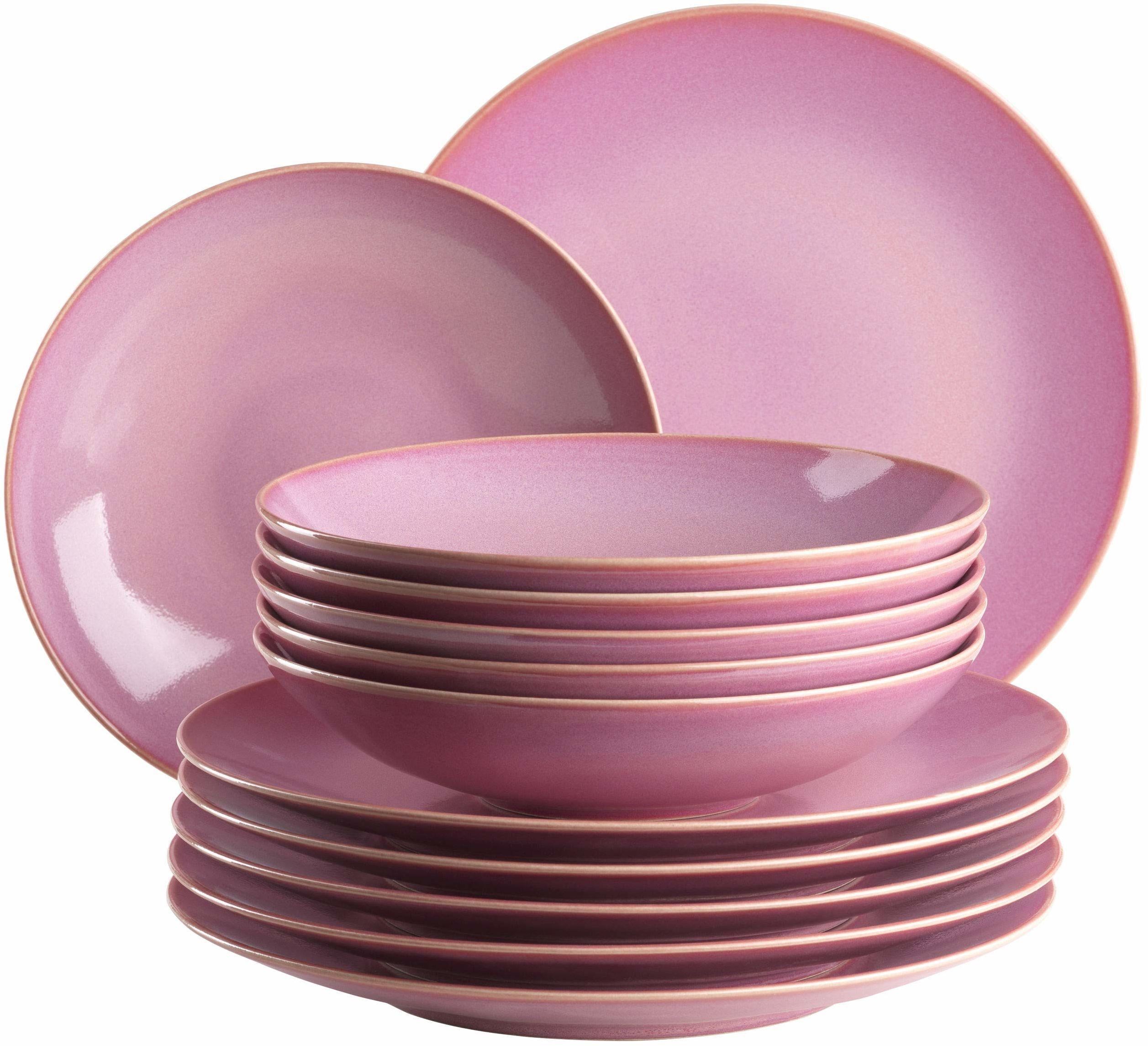MÄSER 931732 Ossia zestaw talerzy dla 6 osób w stylu śródziemnomorskim vintage, 12-częściowy nowoczesny serwis stołowy z talerzami na zupę i talerzami obiadowymi w kolorze różowym, ceramika
