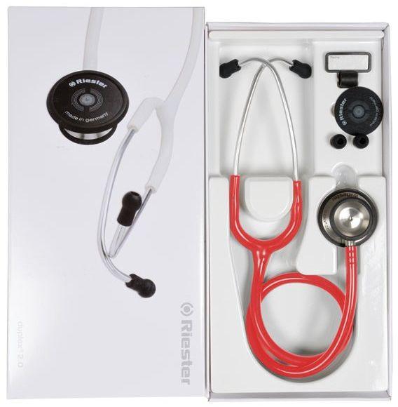 Riester Duplex 2.0 z aluminiową głowicą-czerwony Stetoskop o dwustronnej głowicy posiadający doskonałe parametry odłuchowe