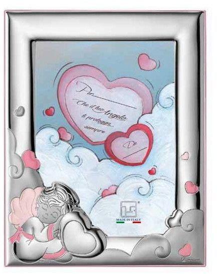 Ramka Aniołek z sercem Rozmiar: 13x18 cm Kolor: Różowy SKU: IS18661