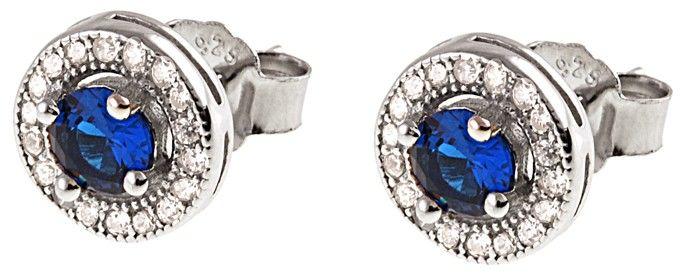 Eleganckie rodowane srebrne kolczyki z cyrkoniami cyrkonie szafir srebro 925 K1575