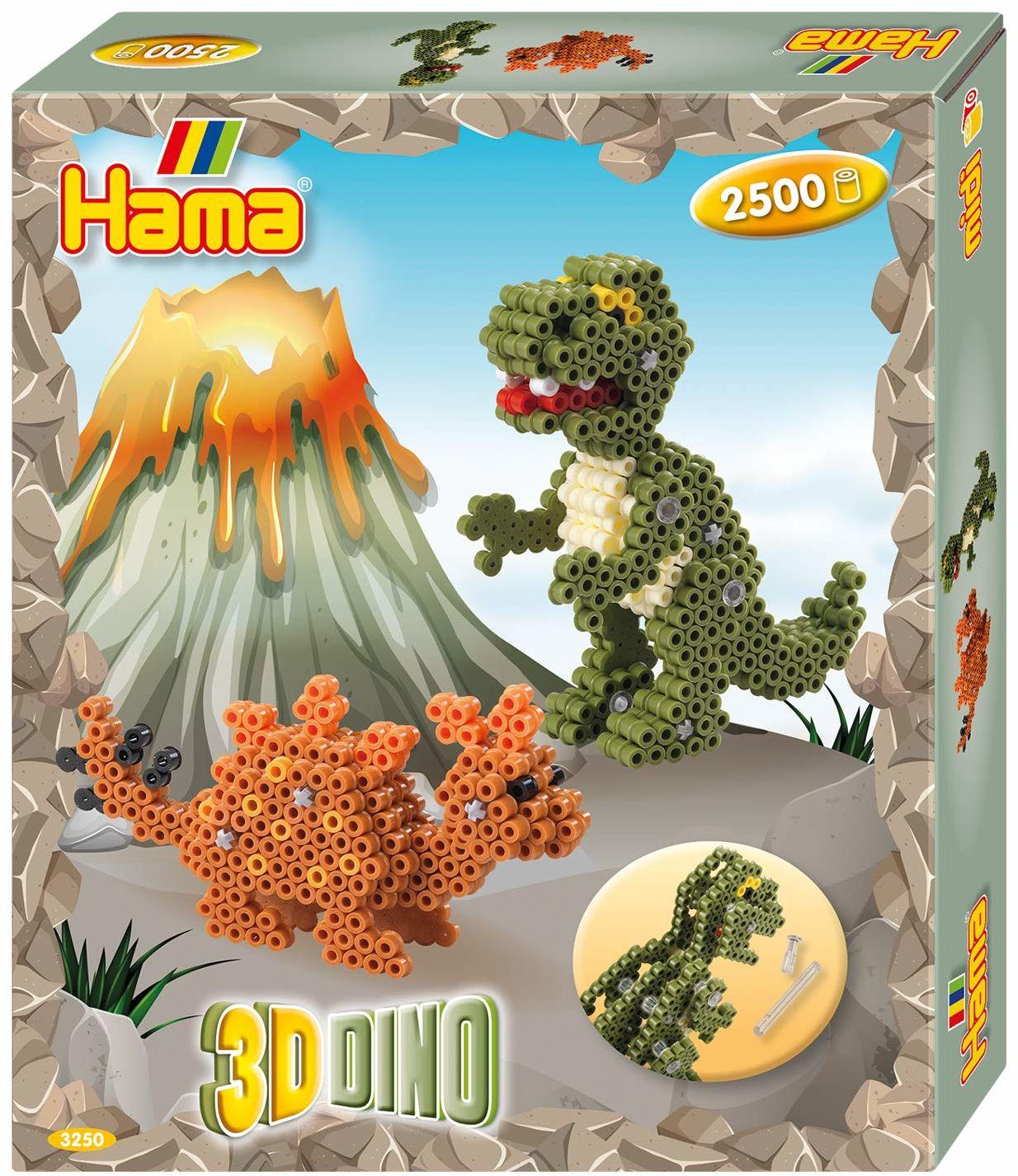 Hama 3250 opakowanie na prezent 3D Dinos, koraliki do prasowania Midi, ok. 2500 sztuk, łącznie z płytami na długopisy i akcesoriami