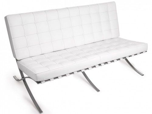 Biała Sofa dwuosobowa Skóra Naturalna Inspirowana Projektem Barcelona