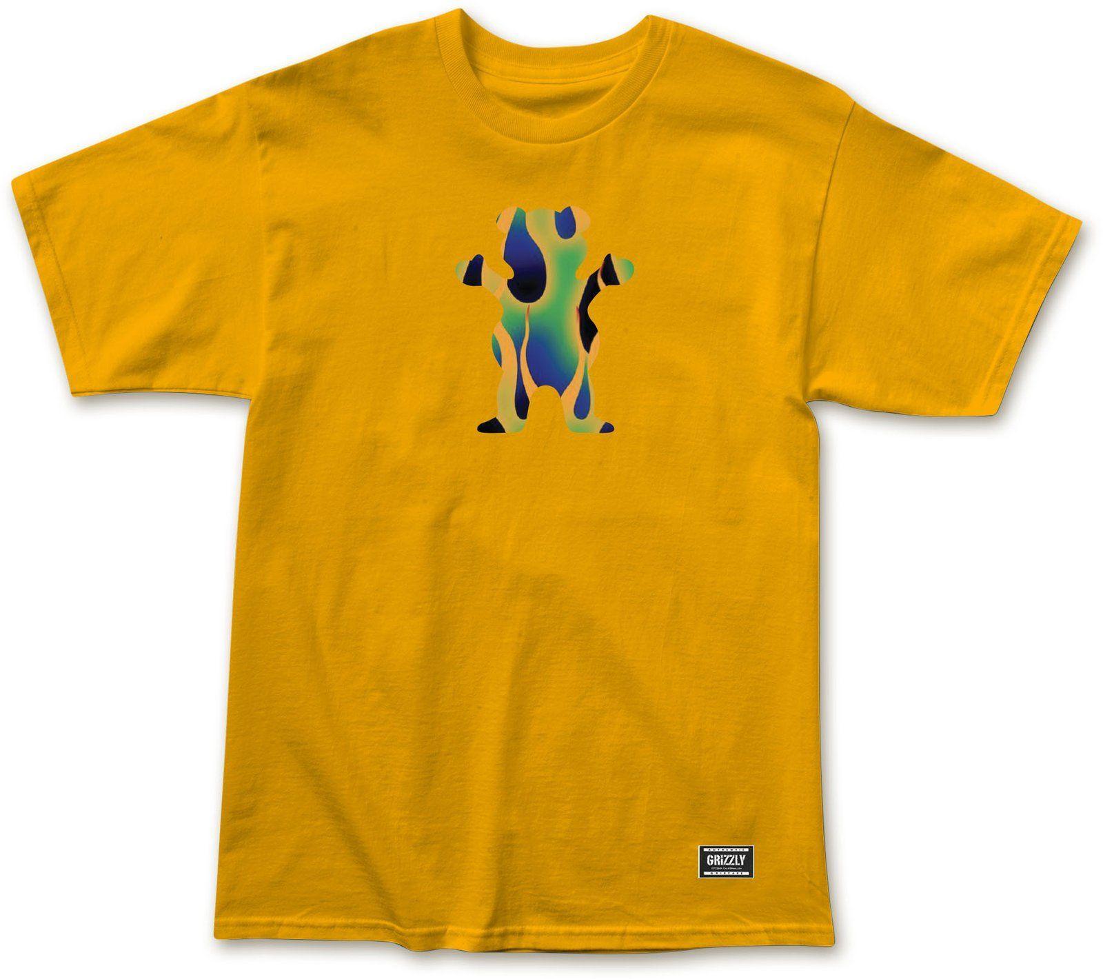 t-shirt męski GRIZZLY GREEN FIRE OG BEAR TEE Gold