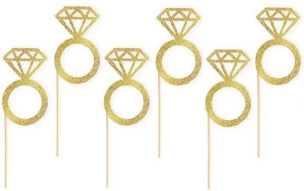 Pikery do babeczek na Wieczór Panieński złote pierścionki 6 sztuk 512107