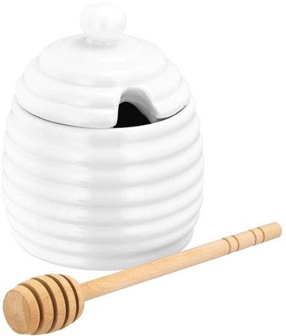 Porcelanowy Pojemnik z Pokrywką do Przechowywania Miodu na Miód Ul z Łyżką Judge Biały