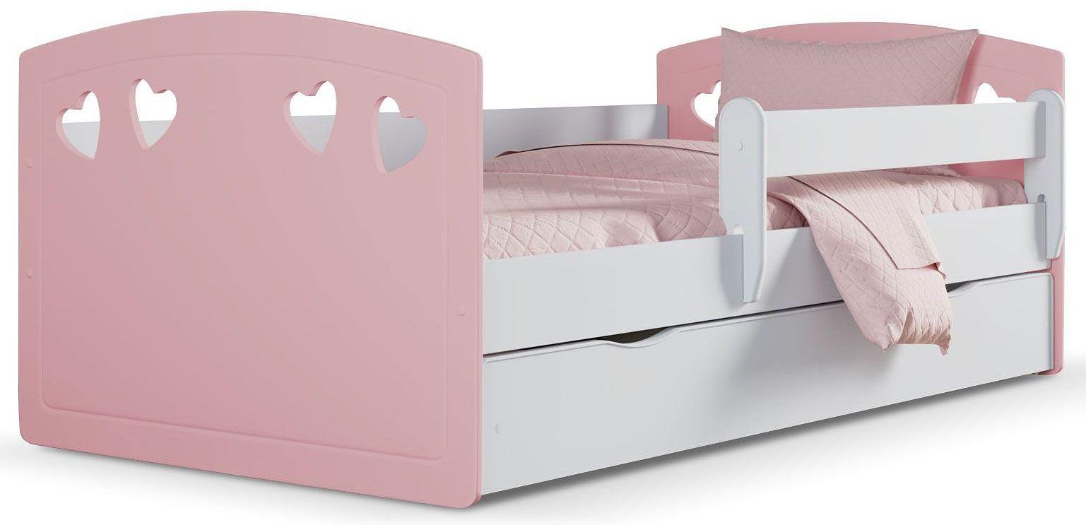 Łóżko dziecięce z barierką Nolia 3X 80x180 - pudrowy róż