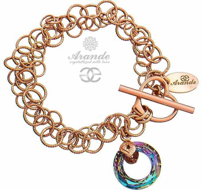 Kryształy bransoletka VITRAIL RING RÓŻOWE ZŁOTO SREBRO