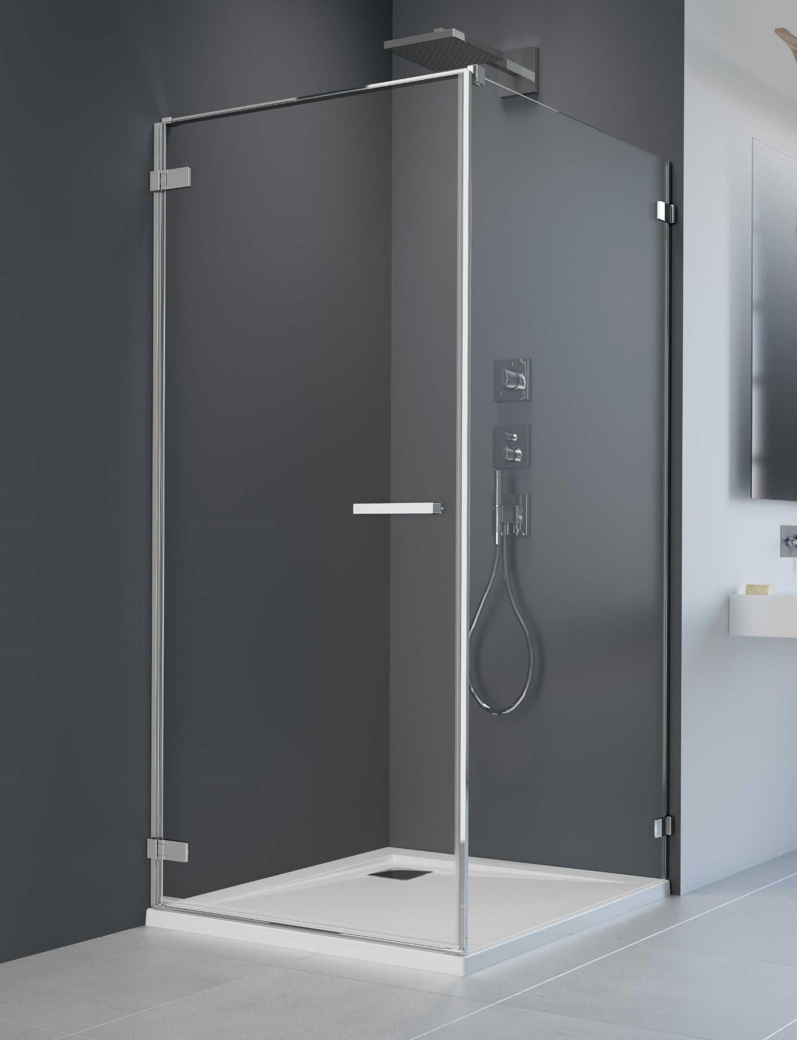 Kabina Radaway Arta KDJ I drzwi lewe 90 cm x ścianka 70, szkło przejrzyste wys. 200 cm, 386082-03-01L/386019-03-01