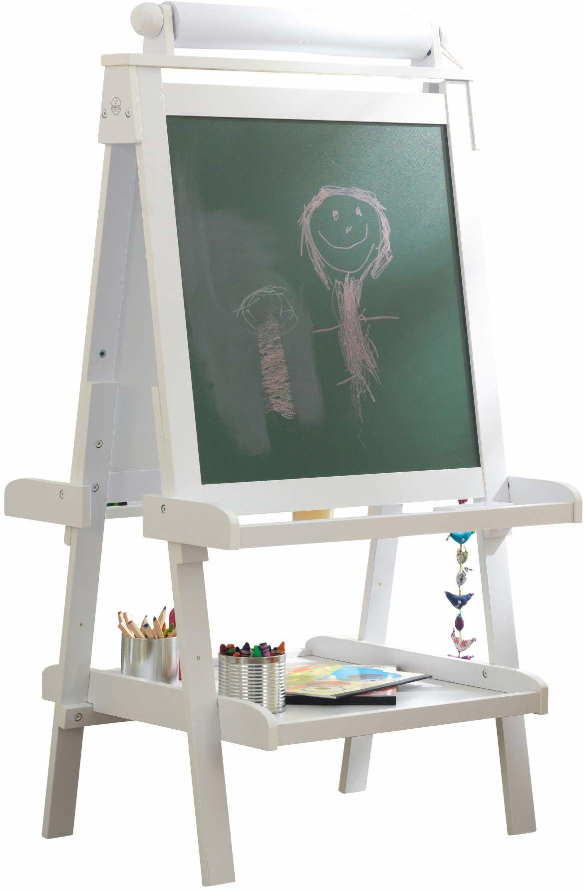 KidKraft 62040 drewniana sztaluga dla dzieci z rolką papierową, współpracuje z ołówkami, markerami, kredą, farbą i innymi, biała