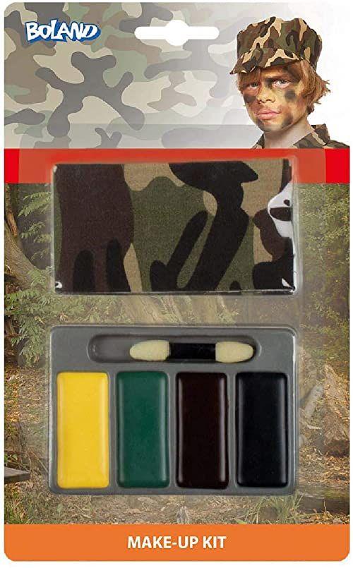Boland 10232496 zestaw małych żołnierza (bandana, farba do makijażu i pędzel), żółty, zielony, brązowy i czarny