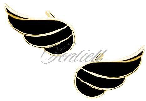 Srebrne (925) pozłacane kolczyki skrzydła z czarną emalią - czarna żółte złoto
