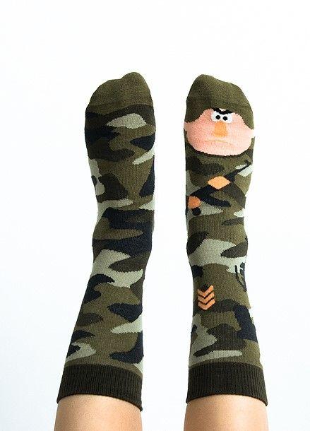 Skarpety kolorowe dla dzieci Nanushki Mili Terry żołnierz, wojsko