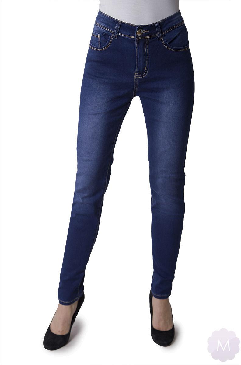 Spodnie jeansowe rurki granatowe z wyższym stanem (Y-6647)