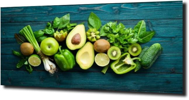 obraz na szkle Zielone warzywa drewno