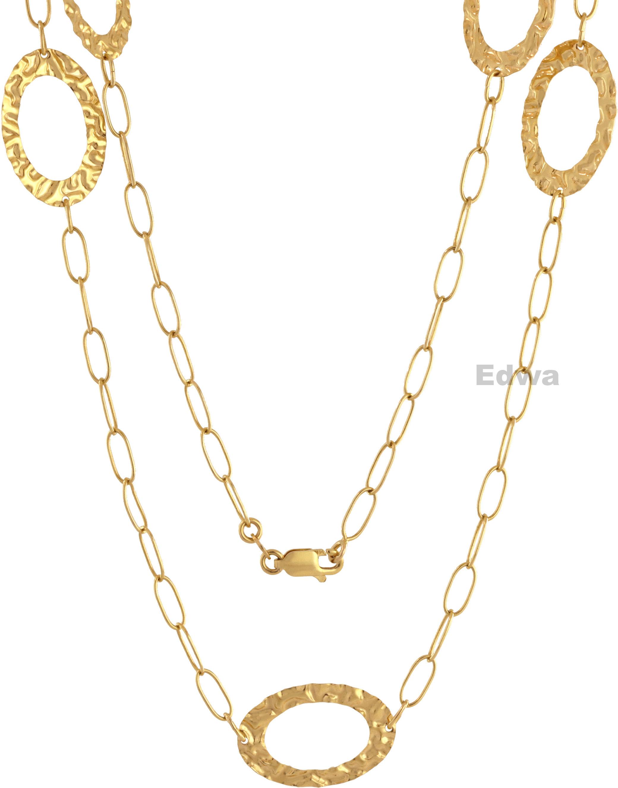 Łańcuszek i bransoletka złota z zawieszkami owalnymi kpl. pr.585