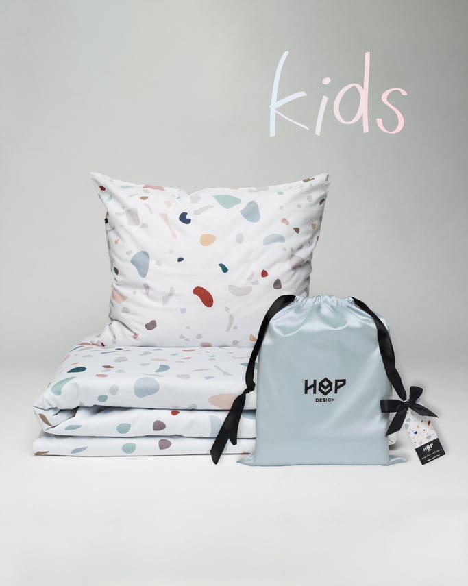 Pościel Satynowa 100x135 Hop Design Terrazzo Kids
