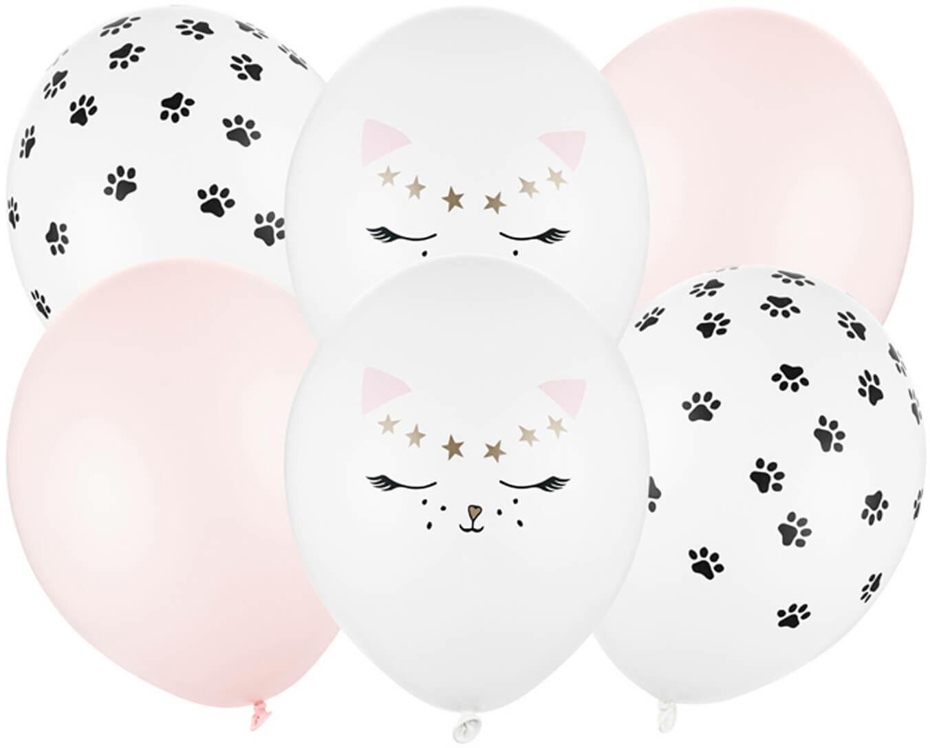 Zestaw balonów lateksowych Kotek - 30 cm - 6 szt.