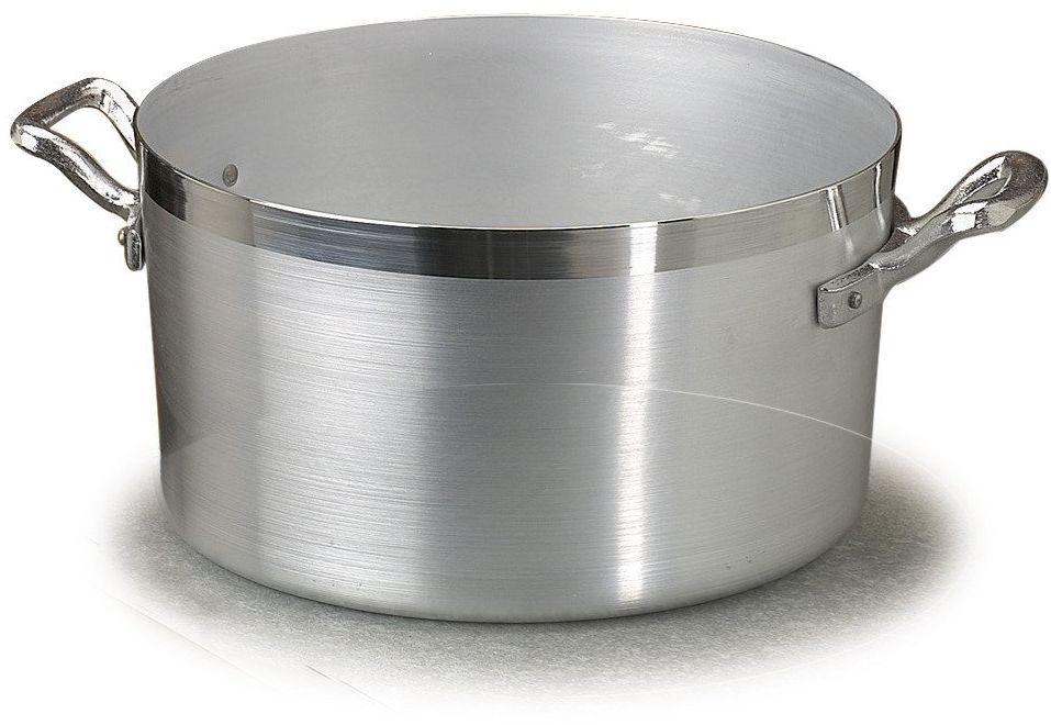 Pentole Agnelli wysoki rondel z aluminium BLTF, z 2 uchwytami ze stali nierdzewnej, srebrny, 4,5 litra