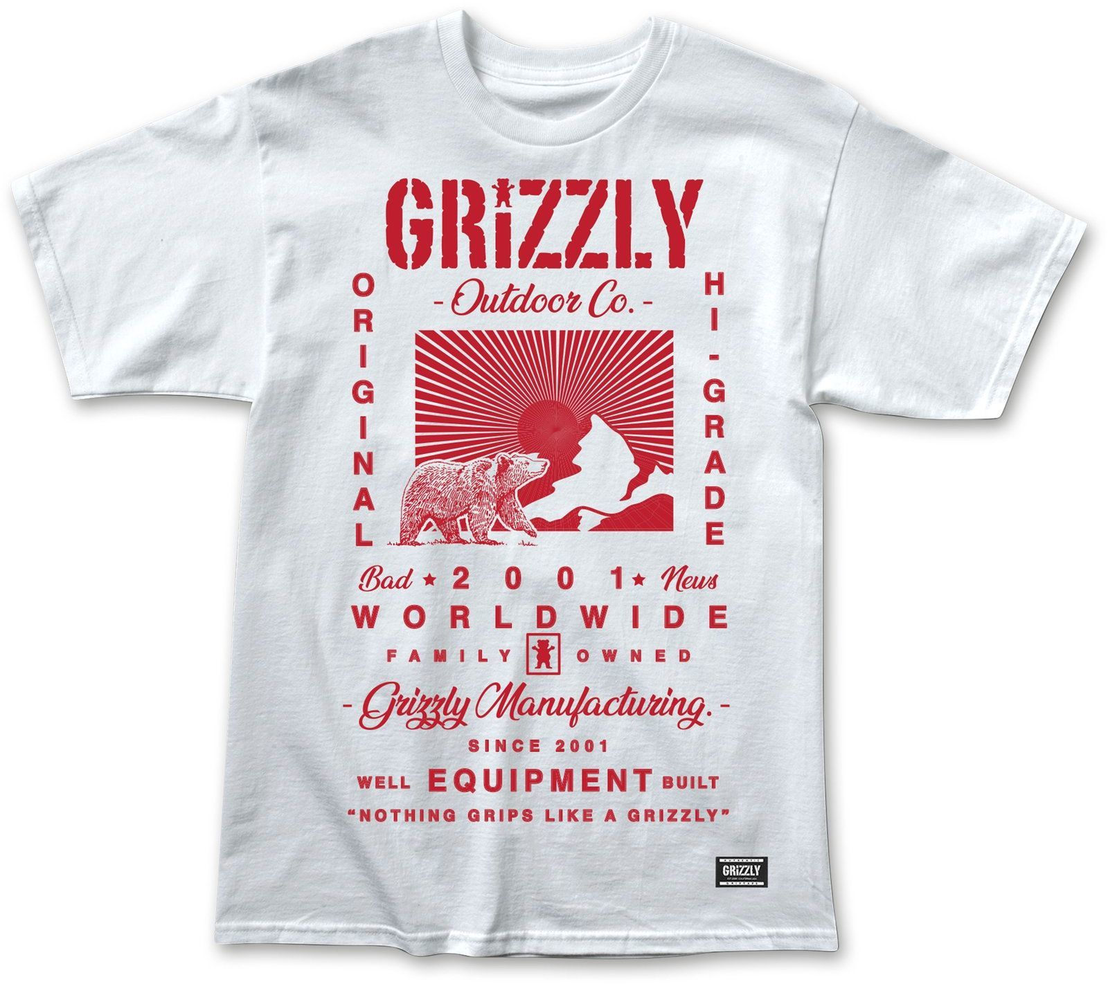 t-shirt męski GRIZZLY TAGLINE TEE White