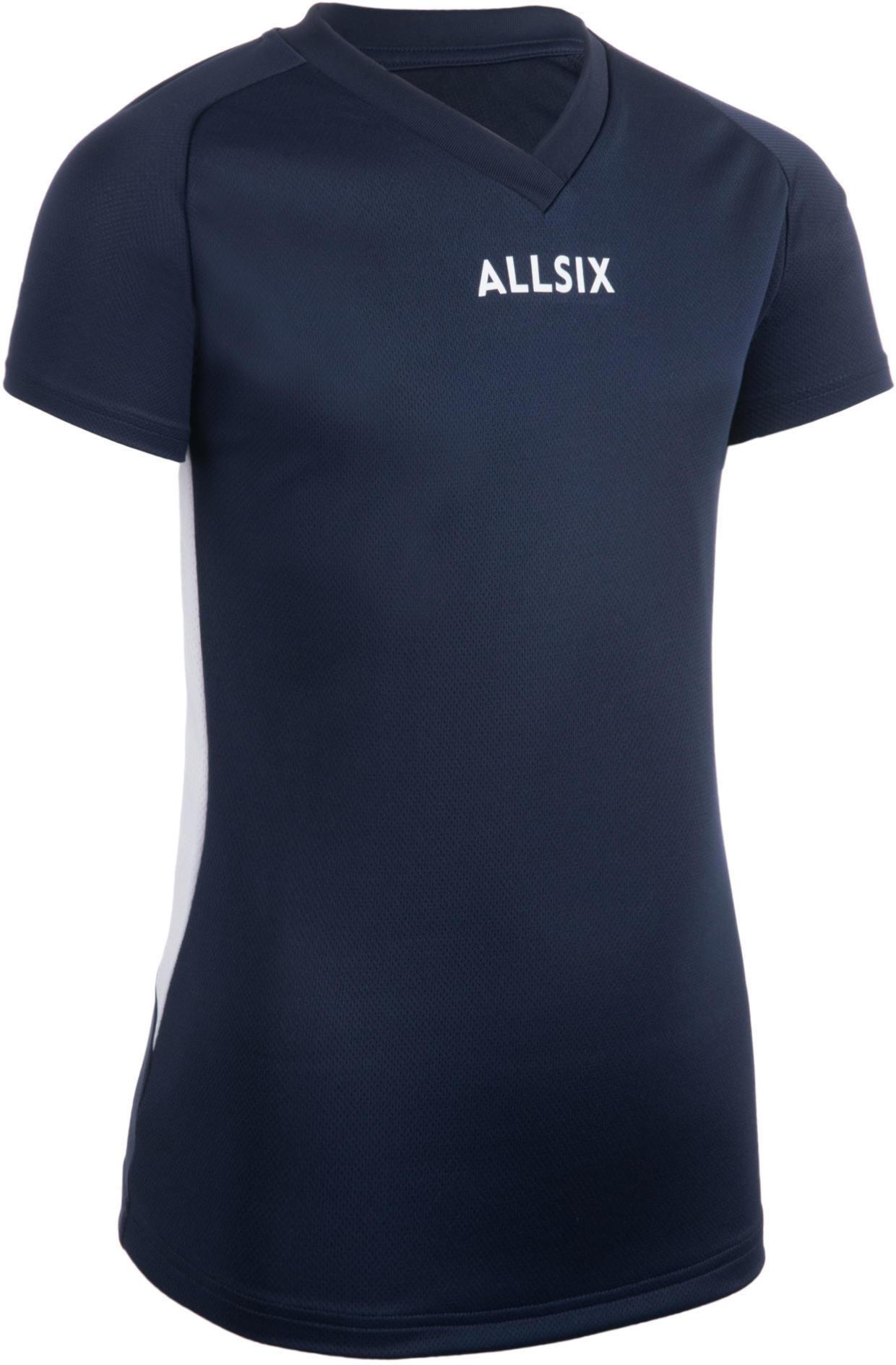 Koszulka siatkarska dla dziewczynek Allsix V100 granatowa