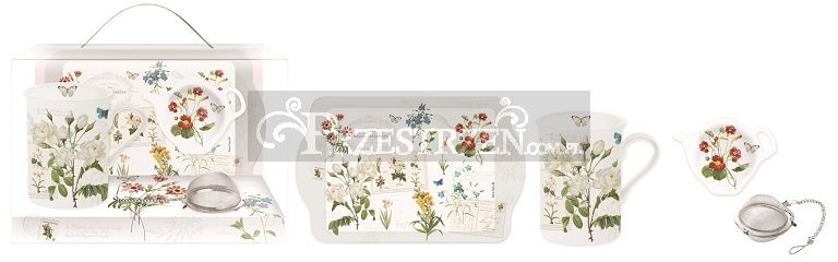 KOMPLET: KUBEK PORCELANOWY, PODSTAWKA I TACKA - Natural - Kwiaty (306 NATU)